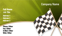 Green Checkered Flag Business Card Template